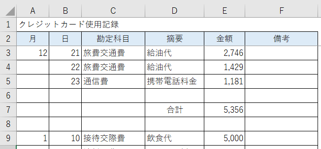 エクセル・クレジットカード使用簿