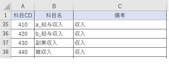エクセル家計簿・複式簿記・科目設定シート